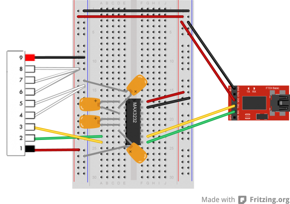 A USB to FTDI on the right goes through the MAX3232 to the JP2 connector of the fingerprint sensor, where the red and black wires happen to be counterintuitively reversed